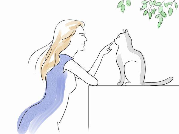 猫をかまう女性のイラスト