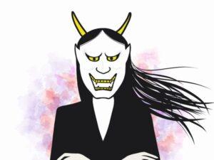 鬼の形相の女性のイラスト